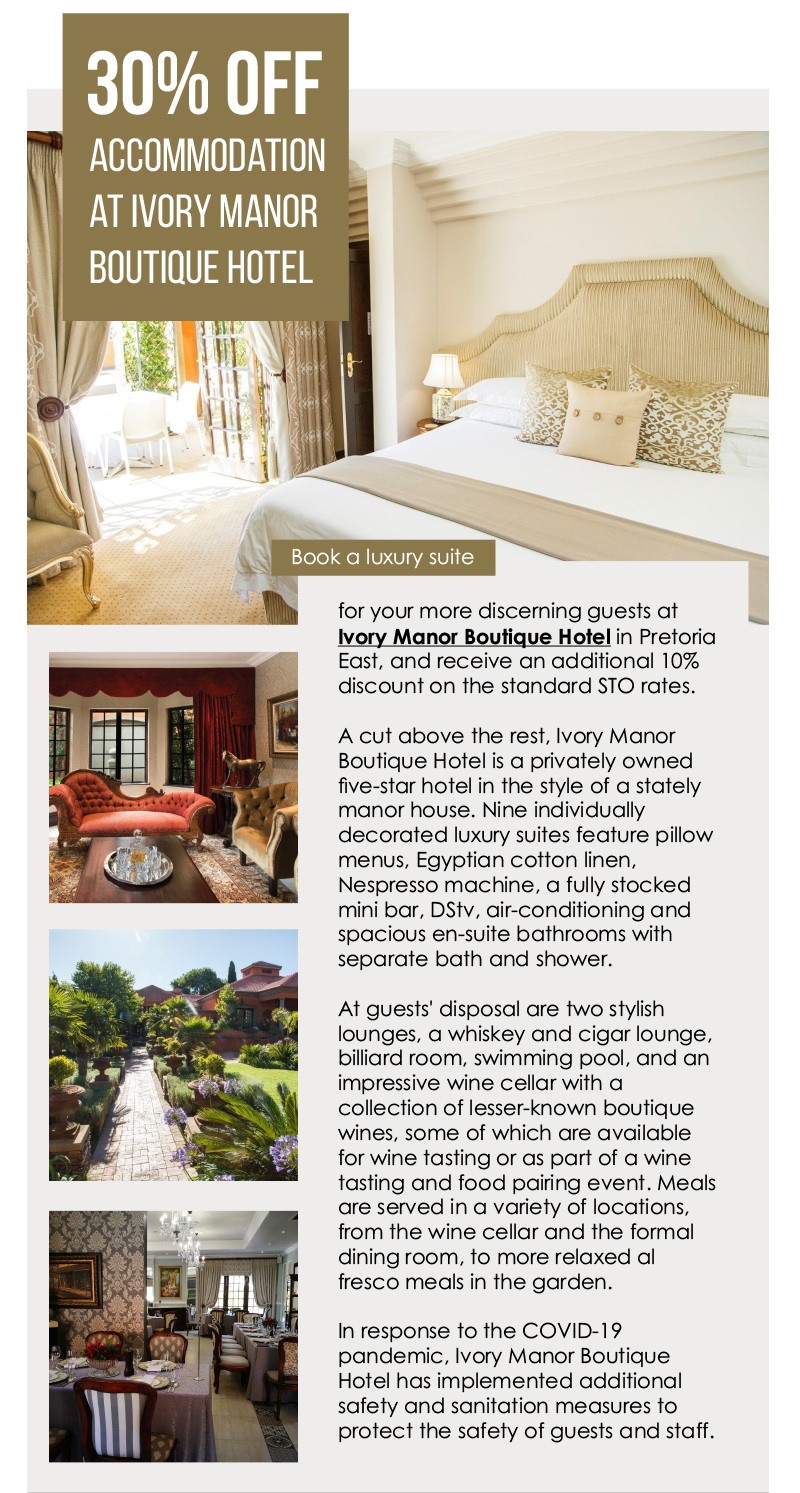 30% off accommodation at Ivory Manor Boutique Hotel